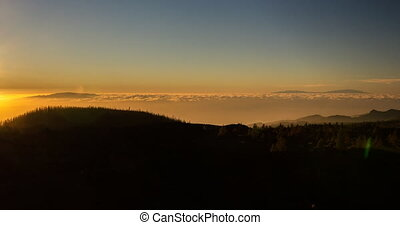 Epic 4k sunset on tenerife at the p - sunset at the pico del...