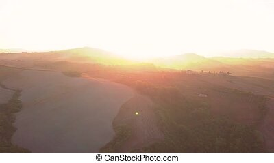 Epic Aerial Flight Over Mist Forrest Sunset Colorful Autumn...