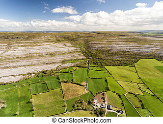 Epic Aerial view of the beautiful Irish countryside nature landscape from the Burren national park in County Clare Ireland