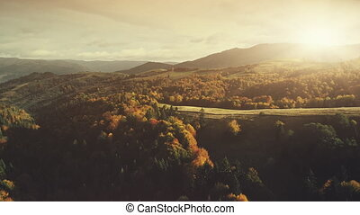 Epic autumn mountain surface scenery aerial view - Epic...