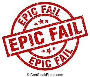 epic fail round red grunge stamp