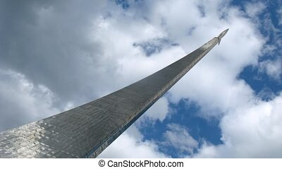 Epic monument with Gagarins rocket on top - MOSCOW - JUL 21:...