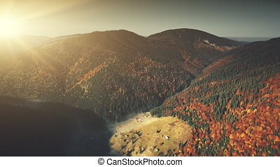 Epic mountain slope surface dawn scene aerial view - Epic...