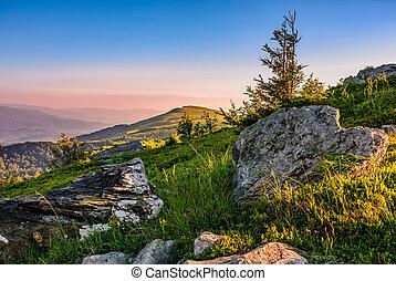 epic sunrise in high mountain ridge - epic sunrise on high...
