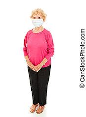 epidemi, -, senior woman, fylld organism