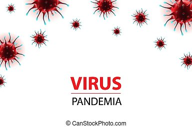 epidemia, social, bandera, horizontal, virus, medios, ...