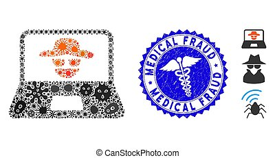 Epidemic Collage Cyber Crime Icon with Health Care Scratched...
