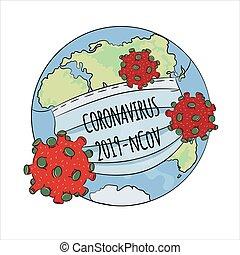 EPIDEMIC NCOV 2019 Coronavirus Health Earth Human Epidemic Medicine Pneumonia Danger Vector Illustration