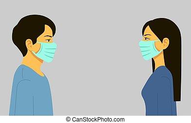Epidemic. Novel coronavirus 2019-nCoV, man and woman in blue medical face mask.