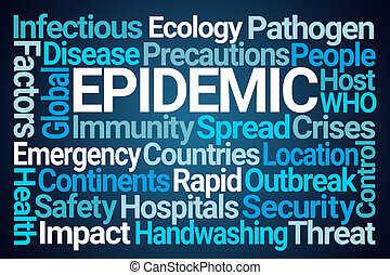 Epidemic Word Cloud on Blue Background