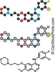 epidermal, (egfr)., cancer, gefinitib, molecule., drogue,...