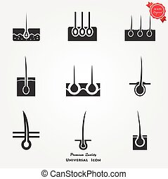 Epidermis icon - Vector icons set of hair removal methods. ...