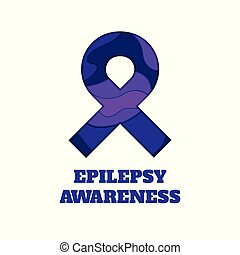 Epilepsy awareness papercut ribbon