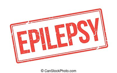 Epilepsy red rubber stamp on white