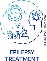 Epilepsy treatment concept icon. Medical cannabis use, hemp medicine idea thin line illustration. MMK for epileptic seizure prevention. Vector isolated outline RGB color drawing