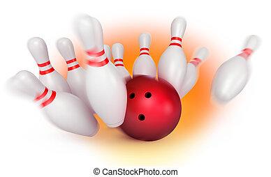 epingles, balle, briser, bowling