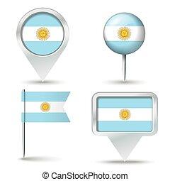 epingles, carte, drapeau, argentine