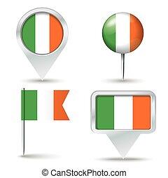 epingles, carte, drapeau, irlande