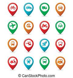 epingles, carte, transport, icônes