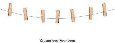 epingles, corde, ligne, vêtements