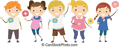 epingles, gosses, stickman, majblomma, illustration
