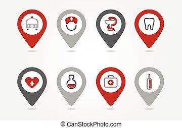 epingles, monde médical, tracer, icônes