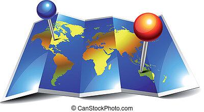 epingles, mondiale, plié, carte