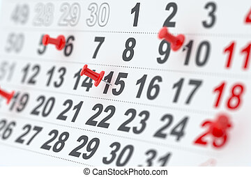 epingles, rouges, calendrier