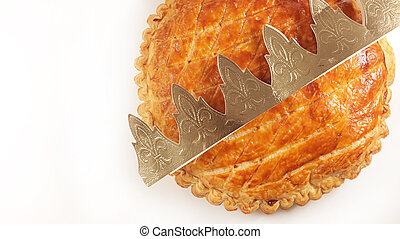 epiphany cake and crown on white background