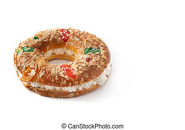 """Epiphany cake """"Roscon de Reyes"""" isolated on white background"""