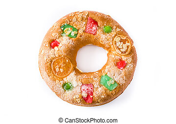 """Epiphany cake """"Roscon de Reyes"""" isolated on white background. Top view."""
