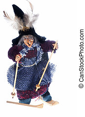 epiphany witch with skis on a white background