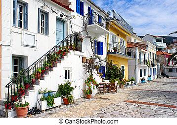epirus, norte, ciudad, parga, tradicional, casas, grecia