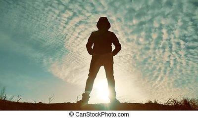 episch, unbekannt, mann, silhouette, an, sonnenuntergang,...