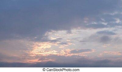 episch, wolkenhimmel, an, dawn., zeit- versehen