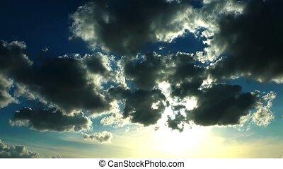 episch, wolkenhimmel, zeit- versehen