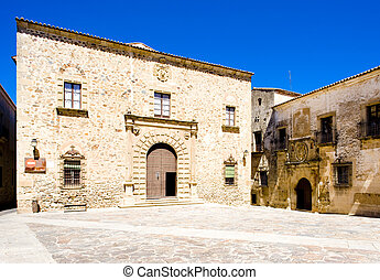 Episcopal Palace, Plaza de Santa Maria, Caceres, Extremadura...