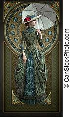 epoque, vestido, belle, cg, verde, 3d