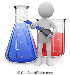 eprouvettes, poser, chimiste