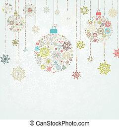 eps, ベージュのバックグラウンド, 8, balls., クリスマス