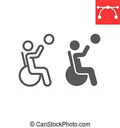 eps, 印, glyph, アイコン, スポーツ, 不具の人, editable, 線, グラフィックス, 線である, ベクトル, 10., バスケットボール, 車椅子, 不能, ストローク