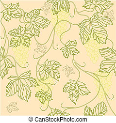 Seamless Wallpaper with floral ornament with leafs and grapes for vintage design, Vector retro background