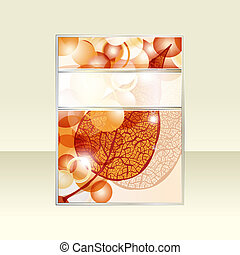 vector autumn leaf and bright balls flyer with ribbon for your text