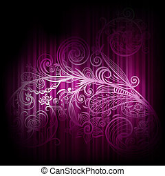 vector background with abstract floral element and stripes