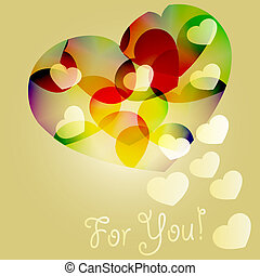 vector background with bright hearts