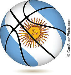 Basketball ball with Argentina flag on white. - EPS 10...