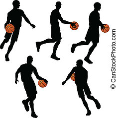 basketball players silhouette collection in dribble position