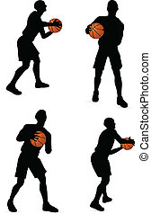 EPS 10 vector basketball players silhouette collection in pass position