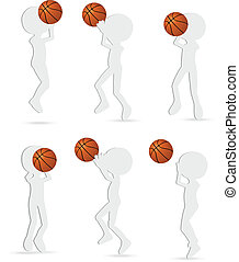 vector basketball players silhouette collection in shoot position