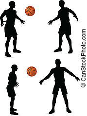 basketball players silhouette collection - EPS 10 vector...